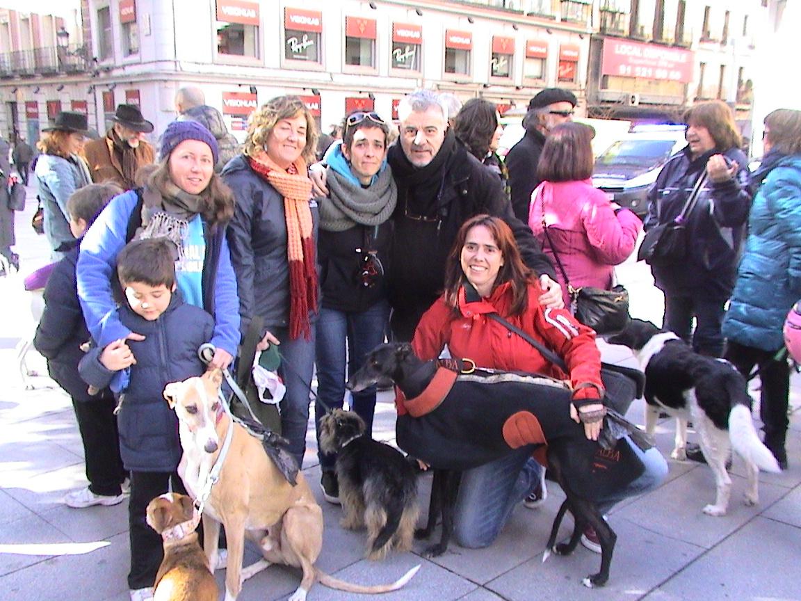 Manifestación contra la caza con galgos