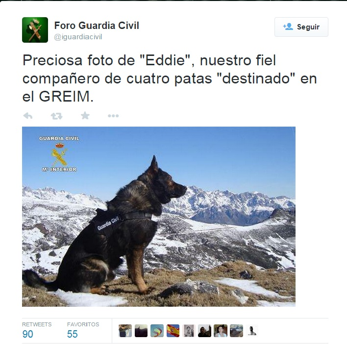 La Guardia Civil despide a EDDIE